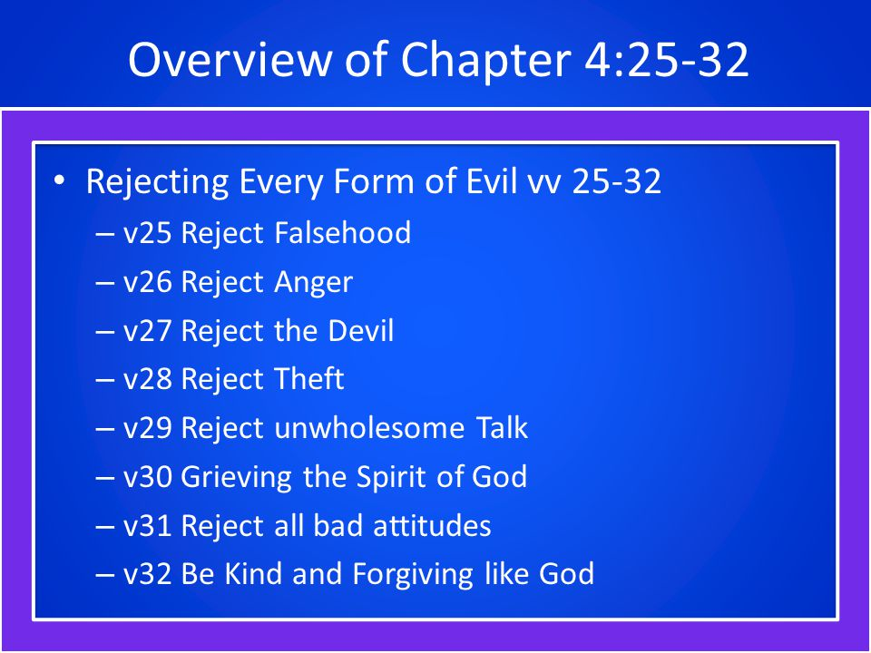 Reject Falsehood Ephesians 4:25 Therefore, rejecting all falsity and being done now with it, let everyone express the truth with his neighbor, for we are all parts of one body and members one of another. (AMP) Paul here encourages believers to put off falsehood and to speak truthfully to each other.