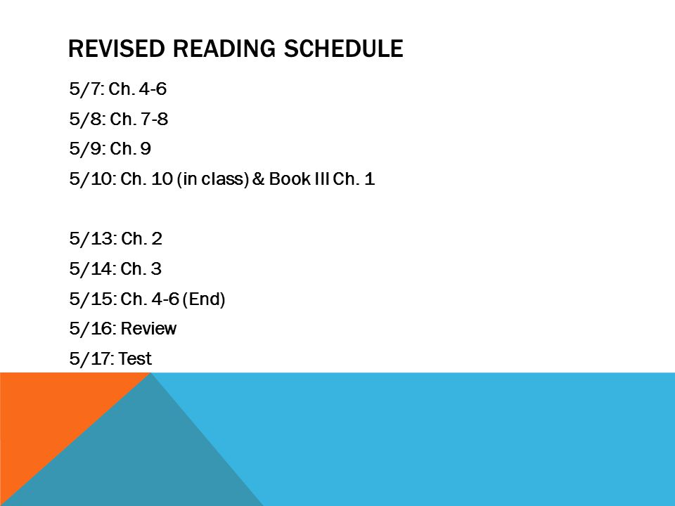 REVISED READING SCHEDULE 5/7: Ch. 4-6 5/8: Ch. 7-8 5/9: Ch. 9 5/10: Ch. 10 (in class) & Book III Ch. 1 5/13: Ch. 2 5/14: Ch. 3 5/15: Ch. 4-6 (End) 5/1