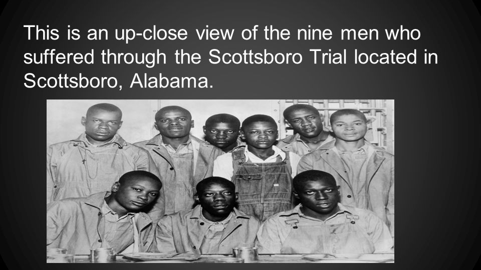 This is an up-close view of the nine men who suffered through the Scottsboro Trial located in Scottsboro, Alabama.
