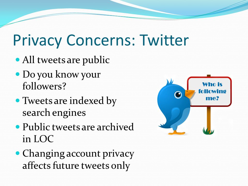 Privacy Concerns: Twitter All tweets are public Do you know your followers? Tweets are indexed by search engines Public tweets are archived in LOC Cha