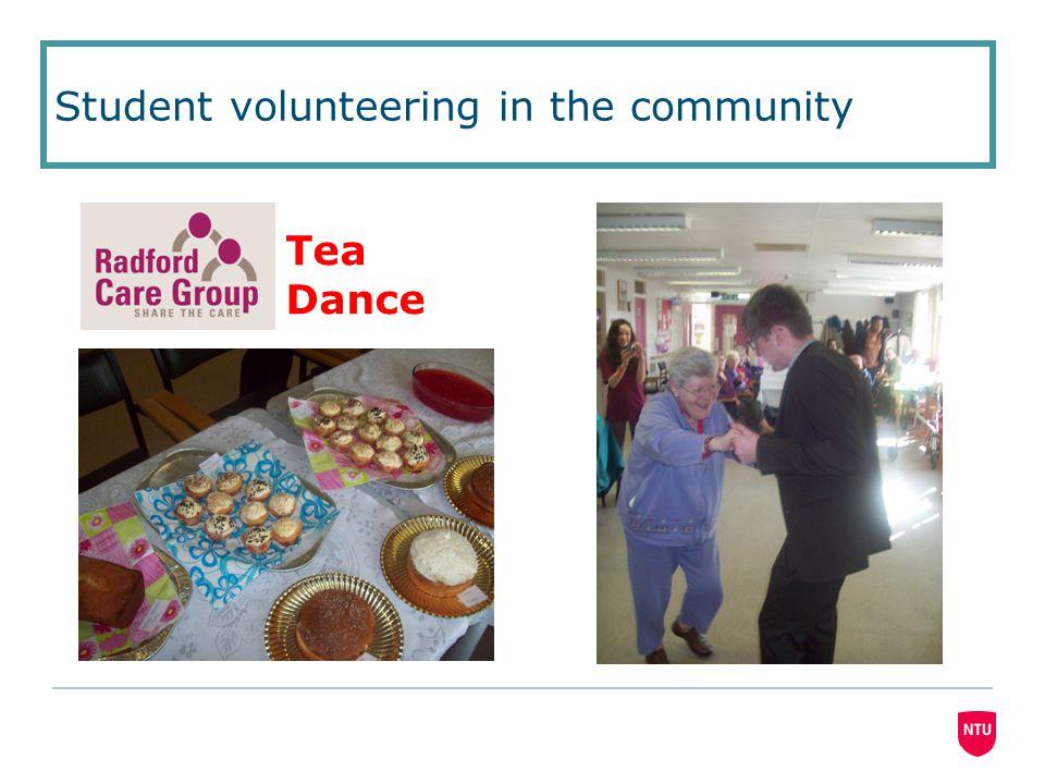 Student volunteering in the community Tea Dance