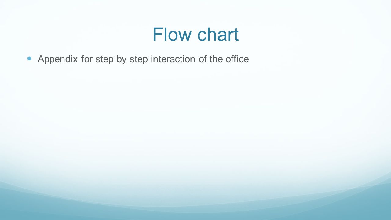 Flow chart Appendix for step by step interaction of the office