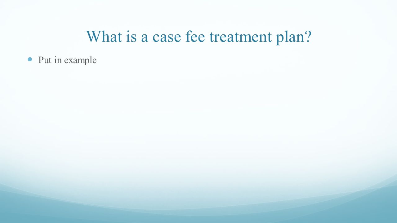 What is a case fee treatment plan? Put in example