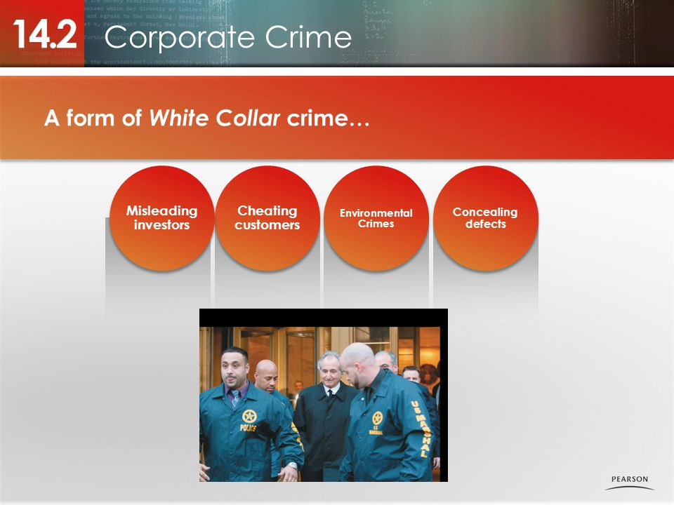 Corporate Crime 14.2 Concealing defects Environmental Crimes Environmental Crimes Cheating customers Misleading investors A form of White Collar crime…