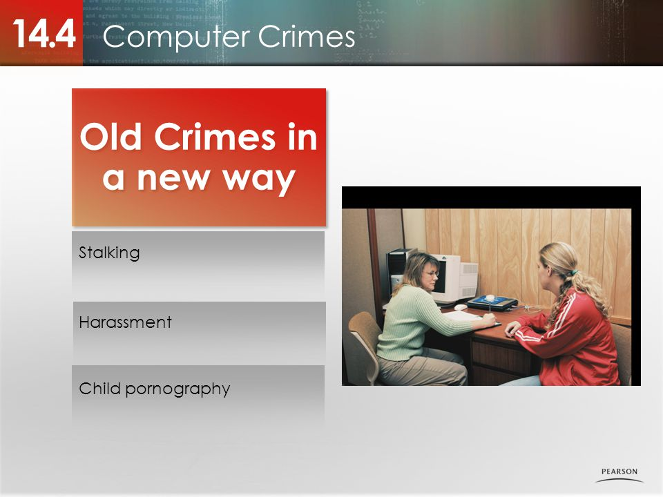 Computer Crimes 14.4 Old Crimes in a new way Stalking Harassment Child pornography