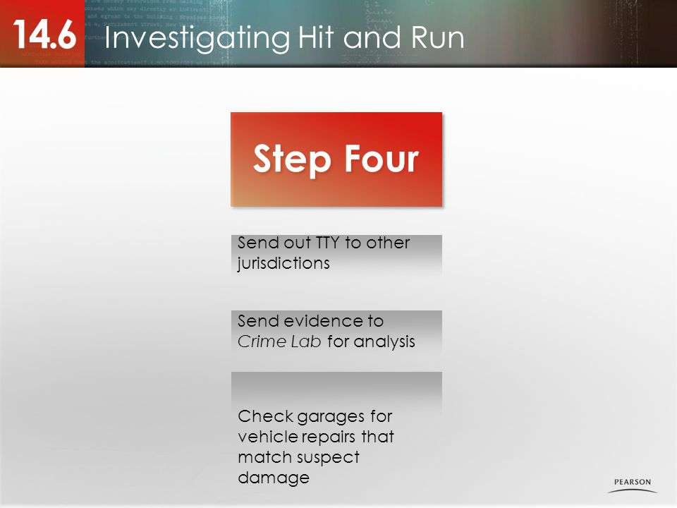 Investigating Hit and Run 14.6 Step Four Send out TTY to other jurisdictions Send evidence to Crime Lab for analysis Check garages for vehicle repairs that match suspect damage