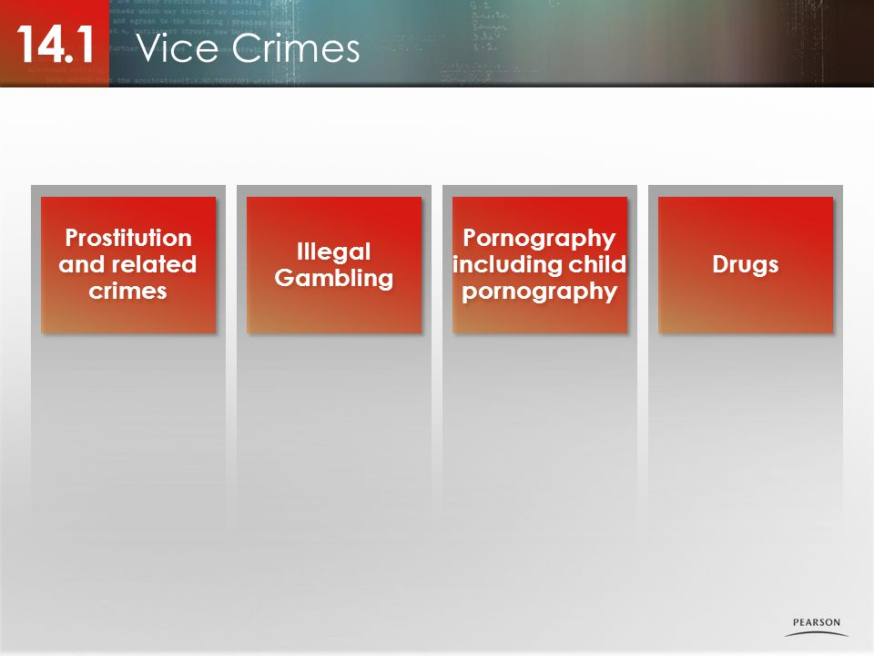Vice Crimes 14.1 Prostitution and related crimes Illegal Gambling Pornography including child pornography Drugs