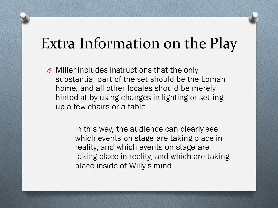 Extra Information on the Play O Miller includes instructions that the only substantial part of the set should be the Loman home, and all other locales