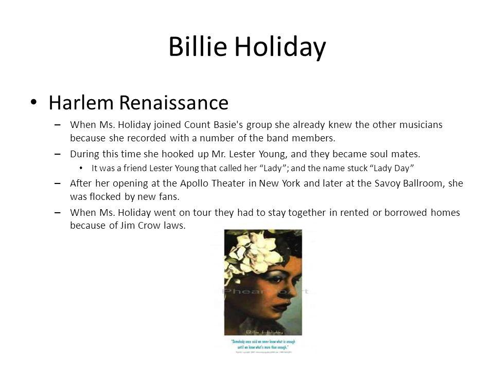 Billie Holiday Harlem Renaissance – When Ms.