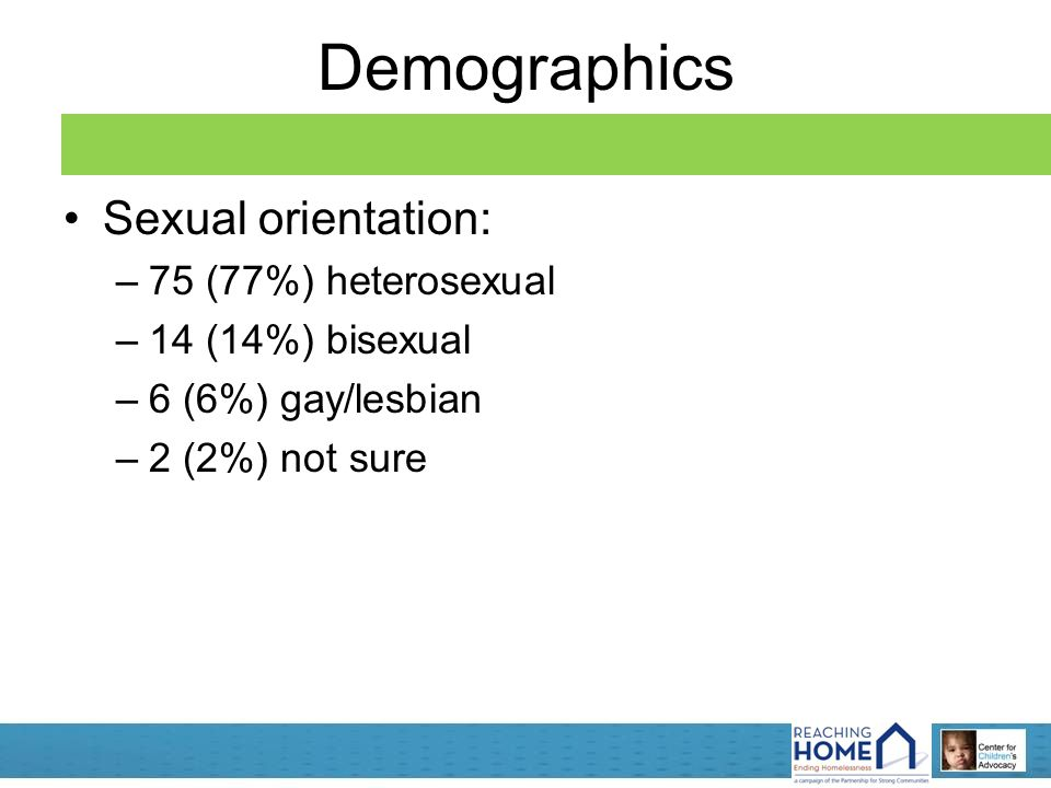 Demographics Sexual orientation: –75 (77%) heterosexual –14 (14%) bisexual –6 (6%) gay/lesbian –2 (2%) not sure