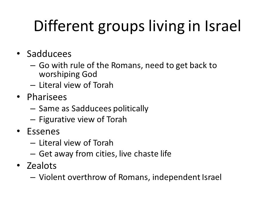 Different groups living in Israel Sadducees – Go with rule of the Romans, need to get back to worshiping God – Literal view of Torah Pharisees – Same as Sadducees politically – Figurative view of Torah Essenes – Literal view of Torah – Get away from cities, live chaste life Zealots – Violent overthrow of Romans, independent Israel