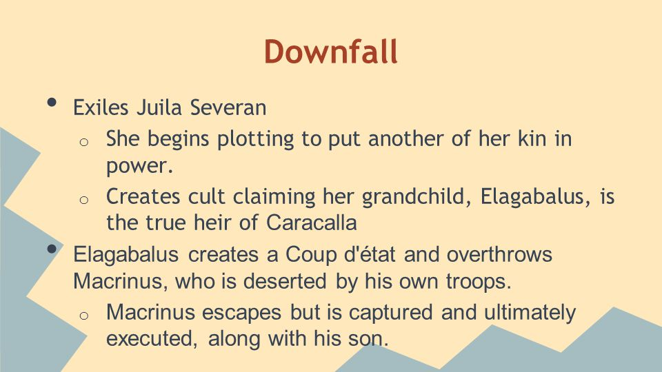 Downfall Exiles Juila Severan o She begins plotting to put another of her kin in power.