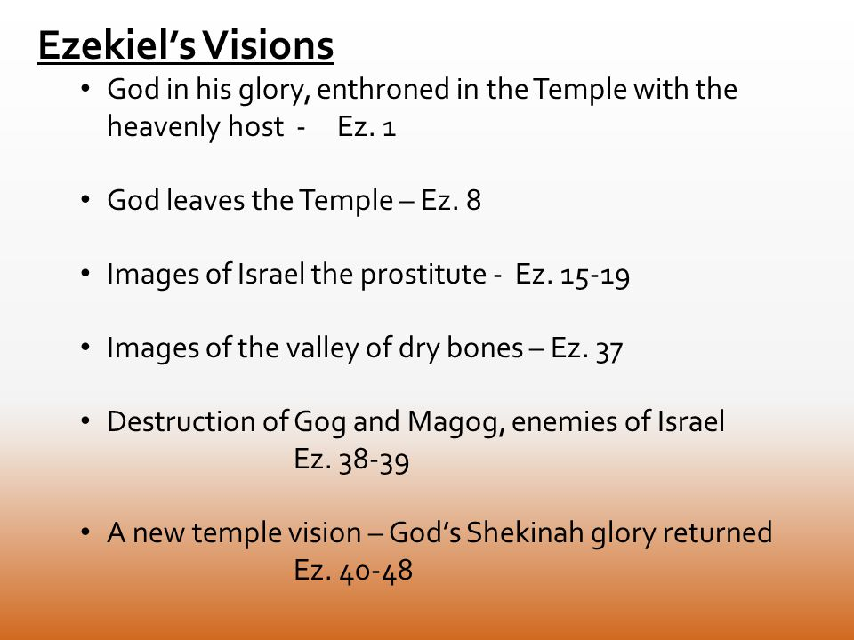 Ezekiel's Visions God in his glory, enthroned in the Temple with the heavenly host - Ez.