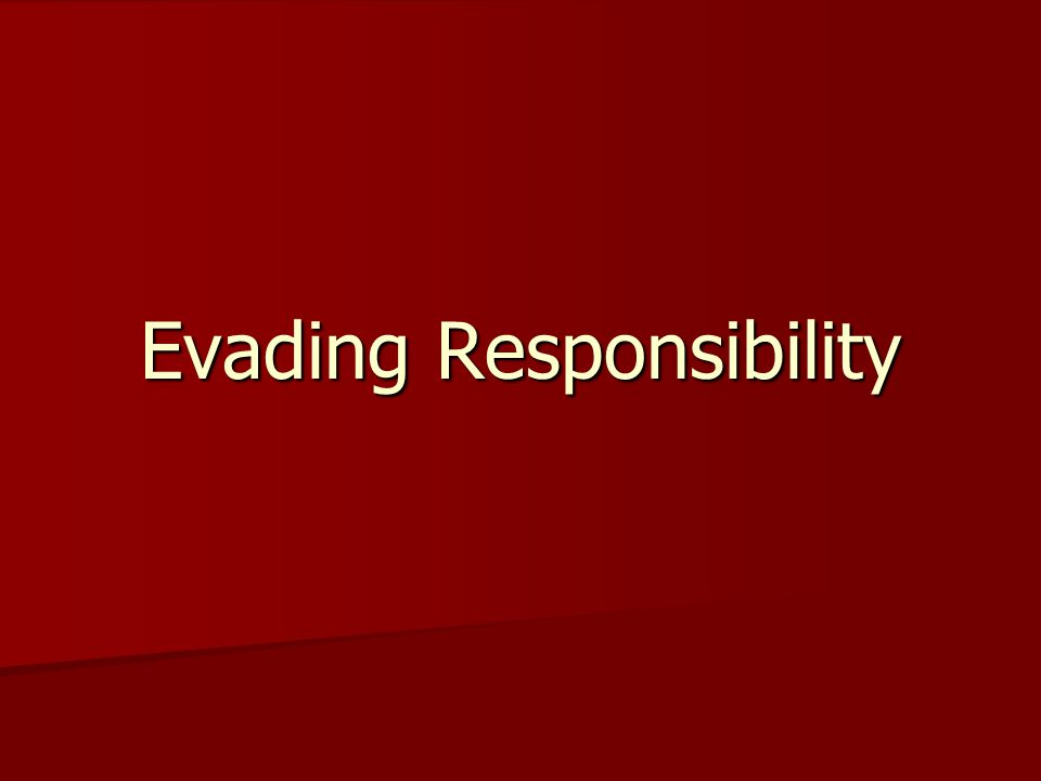 Introduction As an illustration of the human tendency to evade responsibility for wrong-doing, consider the following article, written by Malcolm Moore, originally published in The Daily Telegraph (a British Newspaper) on August 1, 2007, and reprinted in the New York Sun: As an illustration of the human tendency to evade responsibility for wrong-doing, consider the following article, written by Malcolm Moore, originally published in The Daily Telegraph (a British Newspaper) on August 1, 2007, and reprinted in the New York Sun: