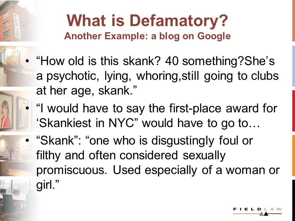 What is Defamatory. Another Example: a blog on Google How old is this skank.