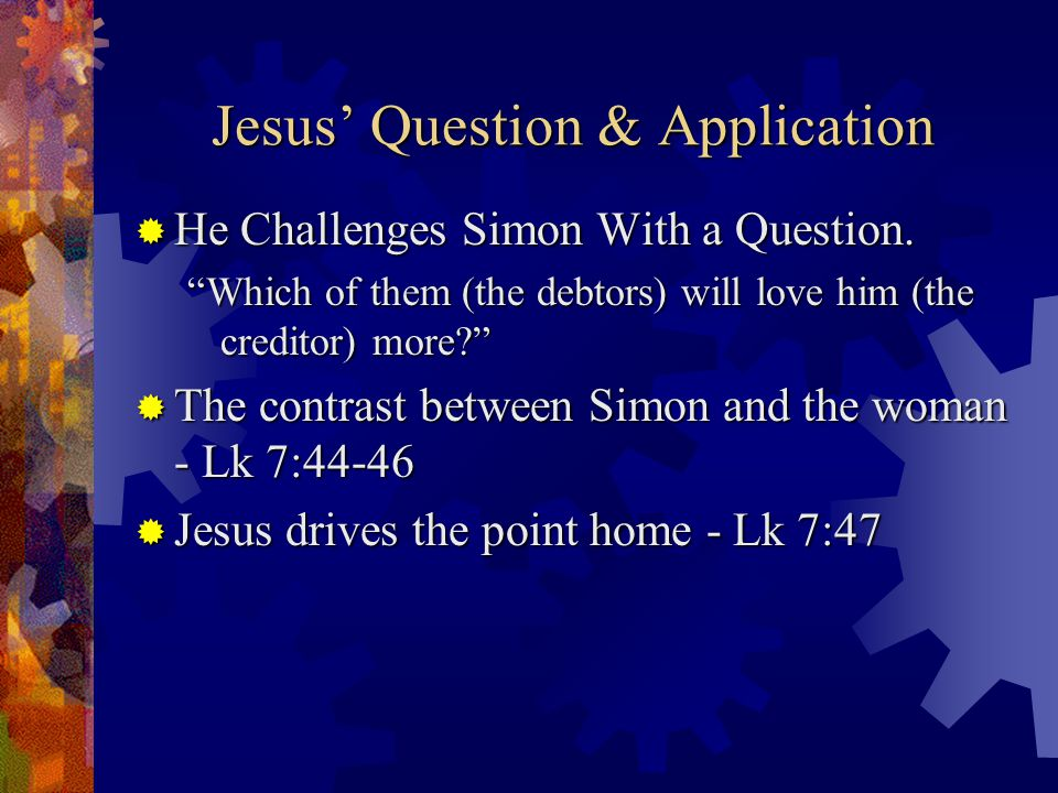 Jesus ' Question & Application  He Challenges Simon With a Question.
