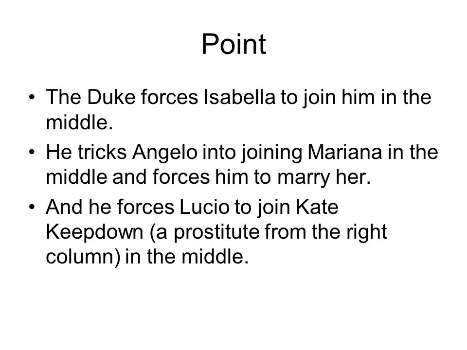 Point The Duke forces Isabella to join him in the middle.