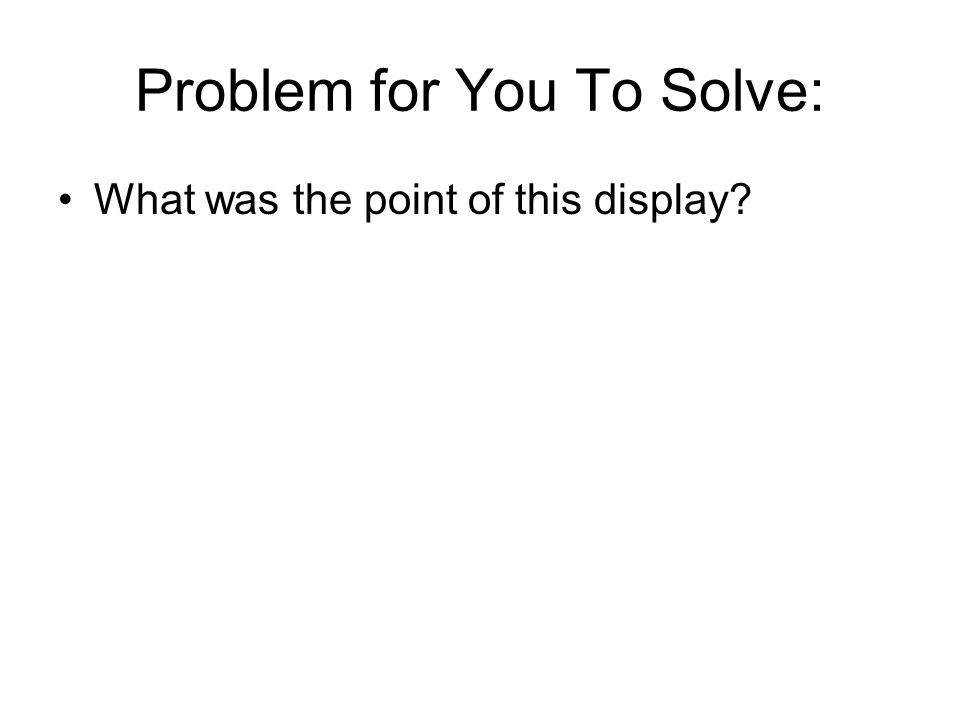 Problem for You To Solve: What was the point of this display