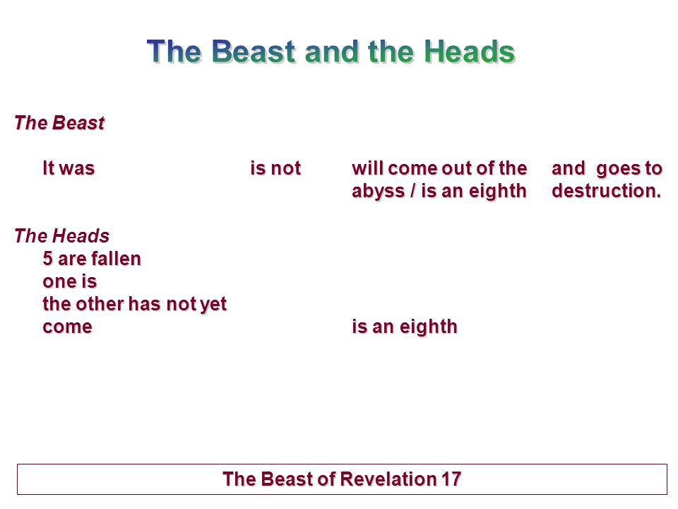 The Beast It was is notwill come out of the and goes to abyss / is an eighthdestruction.