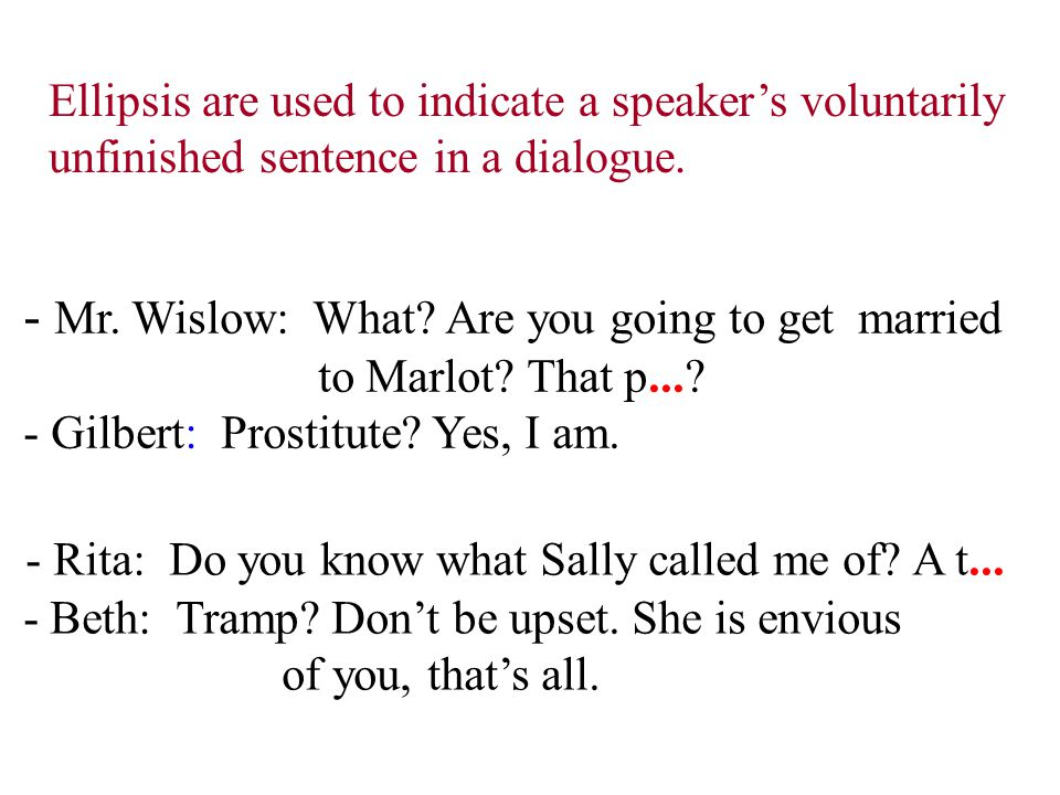Ellipsis are used to indicate a speaker's voluntarily unfinished sentence in a dialogue.