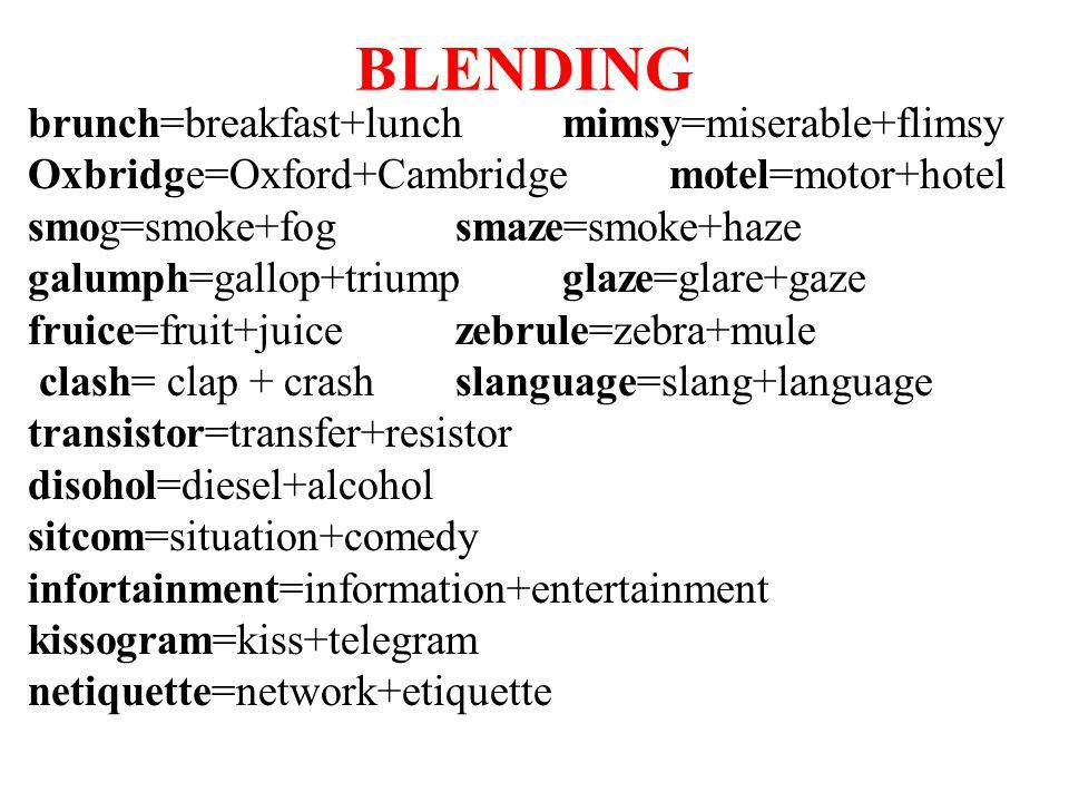BLENDING brunch=breakfast+lunch mimsy=miserable+flimsy Oxbridge=Oxford+Cambridge motel=motor+hotel smog=smoke+fog smaze=smoke+haze galumph=gallop+triu