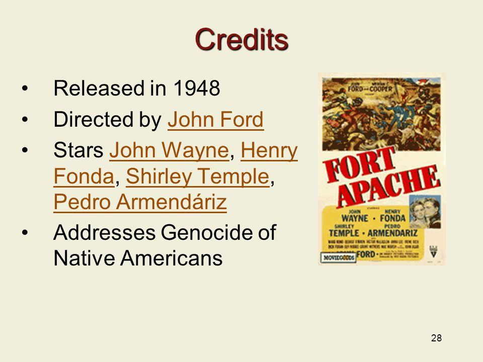 28 Credits Released in 1948 Directed by John FordJohn Ford Stars John Wayne, Henry Fonda, Shirley Temple, Pedro ArmendárizJohn WayneHenry FondaShirley