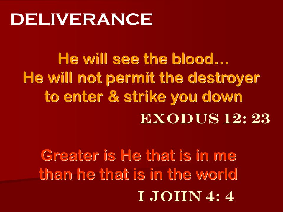 Exodus 12: 23 DELIVERANCE He will see the blood… He will not permit the destroyer to enter & strike you down He will see the blood… He will not permit