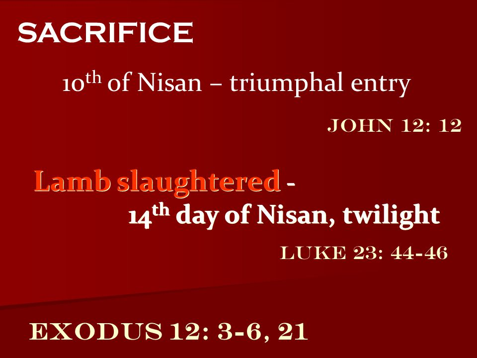 Exodus 12: 3-6, 21 10 th of Nisan – triumphal entry SACRIFICE Lamb slaughtered - 14 th day of Nisan, twilight Lamb slaughtered - 14 th day of Nisan, t