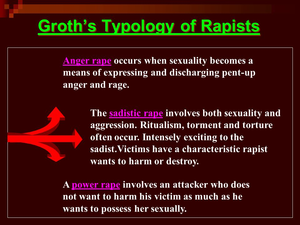 Groth's Typology of Rapists Anger rape occurs when sexuality becomes a means of expressing and discharging pent-up anger and rage.