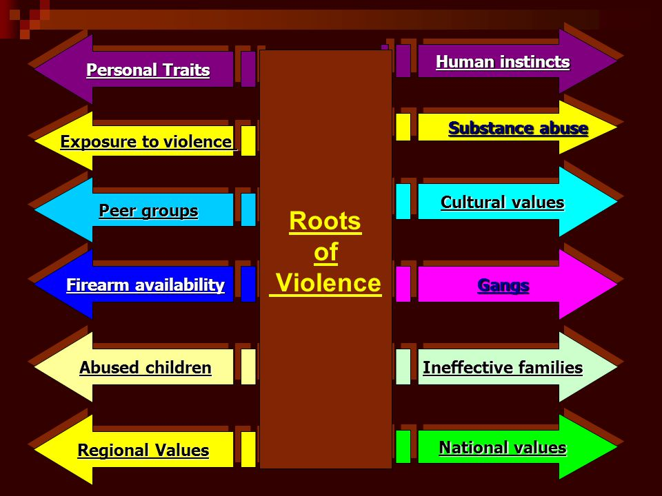 Regional Values Abused children Ineffective families National values Human instincts Substance abuse Substance abuse Cultural values Personal Traits GangsGangs Exposure to violence Peer groups Firearm availability Roots of Violence