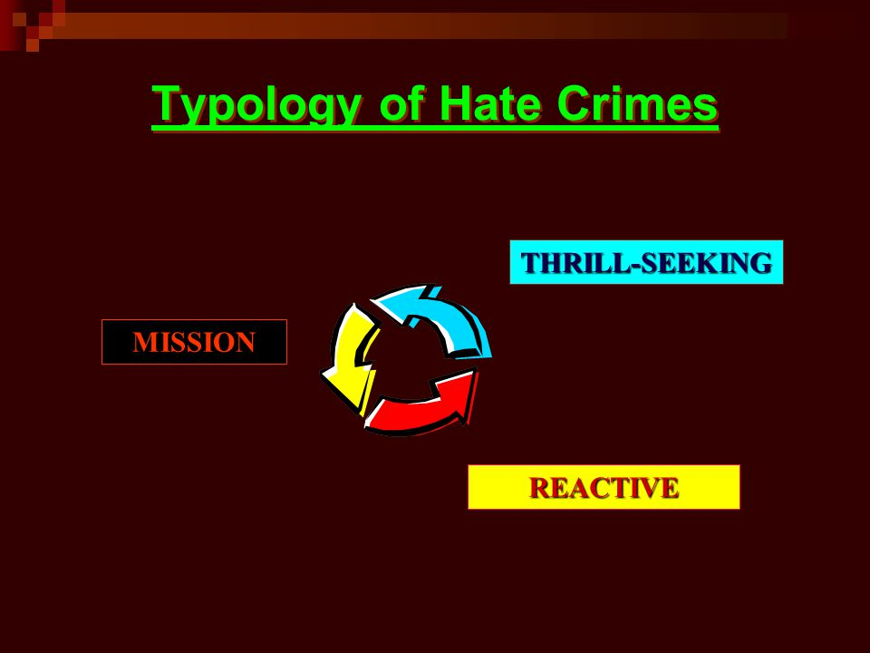 Typology of Hate Crimes THRILL-SEEKING REACTIVE MISSION