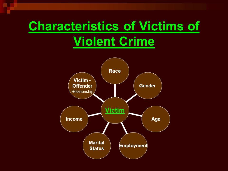 Characteristics of Victims of Violent Crime Victim RaceGenderAgeEmployment Marital Status Income Victim - Offender Relationship