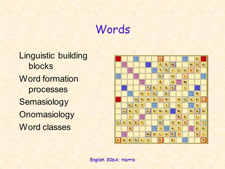 English 306A; Harris Words Linguistic building blocks Word formation processes Semasiology Onomasiology Word classes