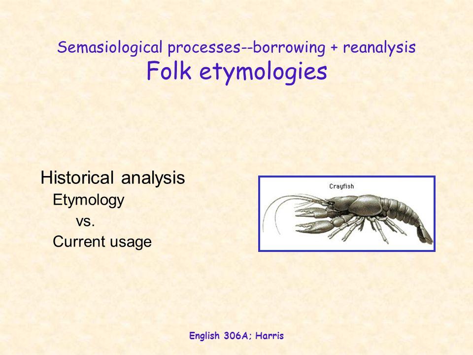 English 306A; Harris Semasiological processes--borrowing + reanalysis Folk etymologies Simple reanalysis crayfish (écrevisse) muskrat (musquash) belfrey (berfry) Backformation (reanalysis + morphological clipping) pea (pease) edit (editor) swindle (swindler)