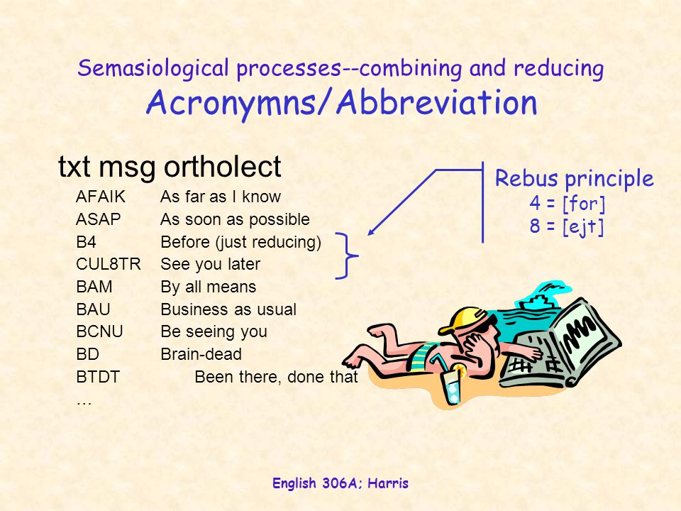English 306A; Harris Semasiological processes--combining and reducing Acronymns/Abbreviation txt msg ortholect AFAIKAs far as I know ASAPAs soon as possible B4Before (just reducing) CUL8TRSee you later BAMBy all means BAUBusiness as usual BCNUBe seeing you BDBrain-dead BTDTBeen there, done that …