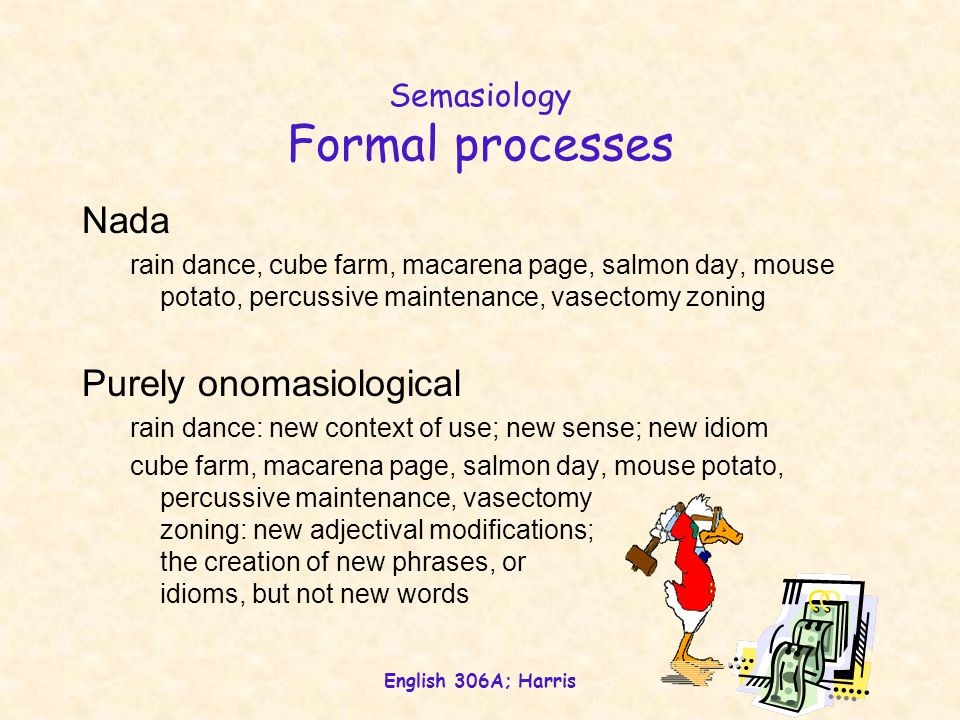 English 306A; Harris Semasiology Formal processes Nada rain dance, cube farm, macarena page, salmon day, mouse potato, percussive maintenance, vasectomy zoning Purely onomasiological rain dance: new context of use; new sense; new idiom cube farm, macarena page, salmon day, mouse potato, percussive maintenance, vasectomy zoning: new adjectival modifications; the creation of new phrases, or idioms, but not new words