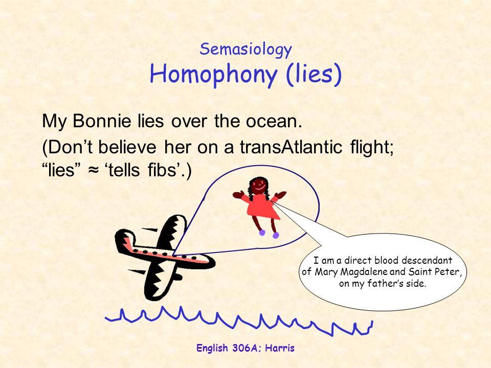 English 306A; Harris Semasiology Homophony (lies) My Bonnie lies over the ocean.