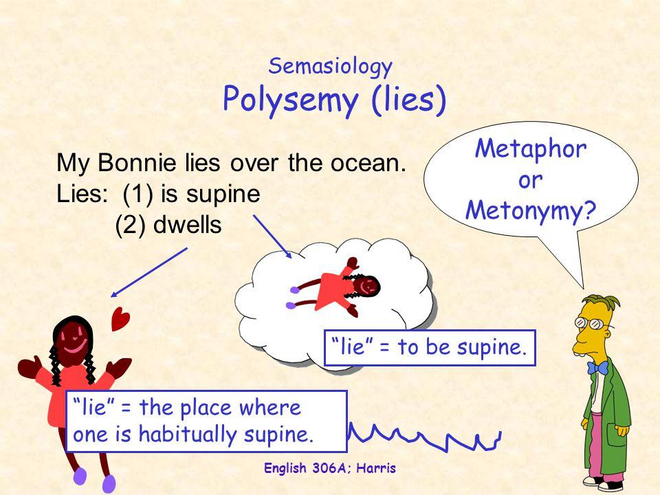 English 306A; Harris Semasiology Polysemy (lies) My Bonnie lies over the ocean.