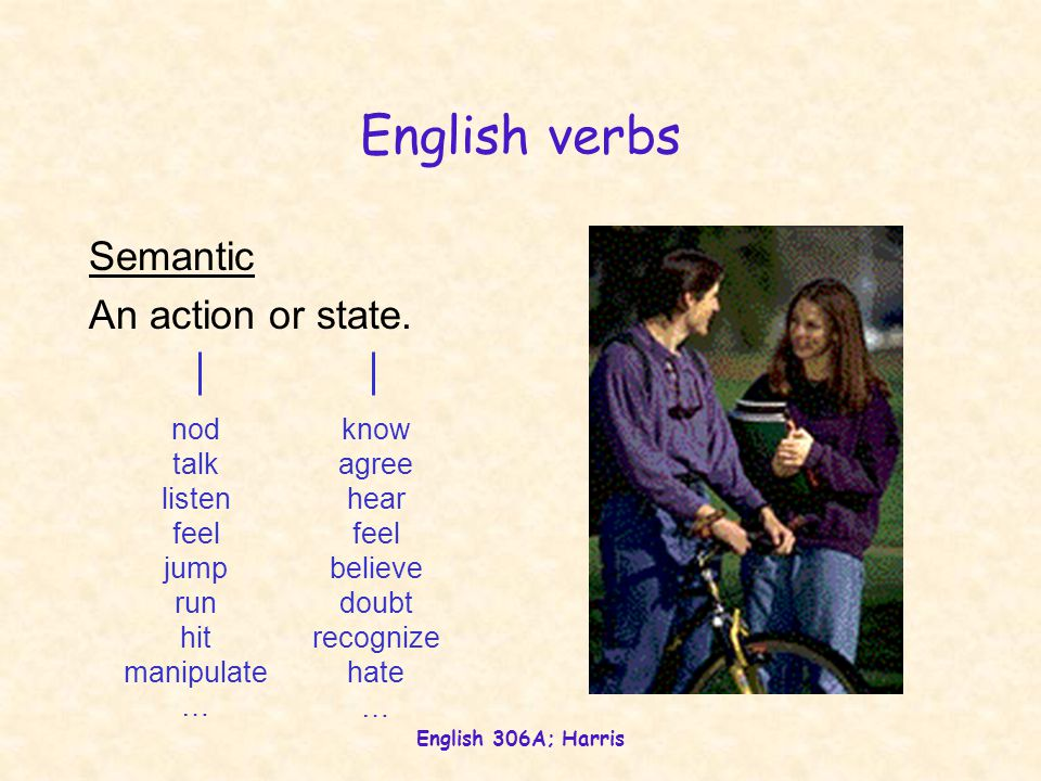 English 306A; Harris English verbs Semantic An action or state.