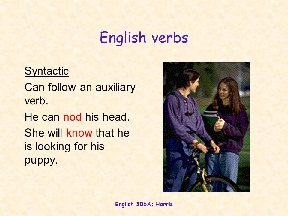 English 306A; Harris English verbs Morphological Take four suffixes: past tensenodded 3sg presentnods past participle(has) nodded, (had) nodded pres.