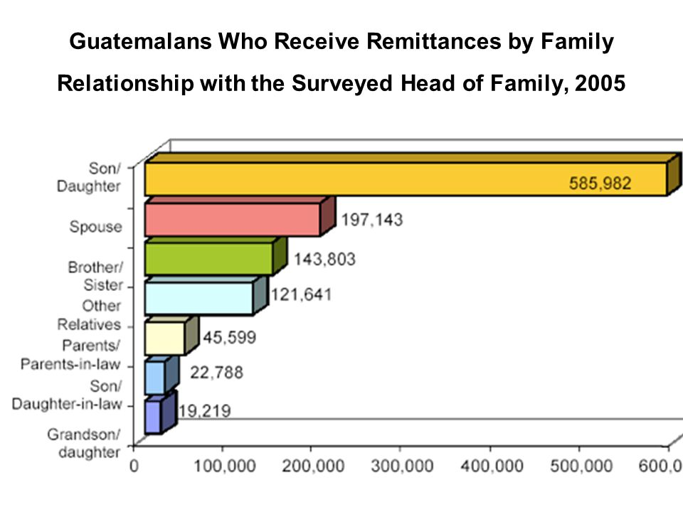 Guatemalans Who Receive Remittances by Family Relationship with the Surveyed Head of Family, 2005