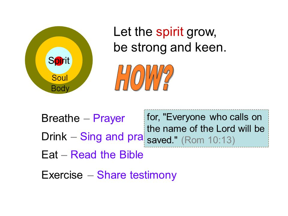 Let the spirit grow, be strong and keen.