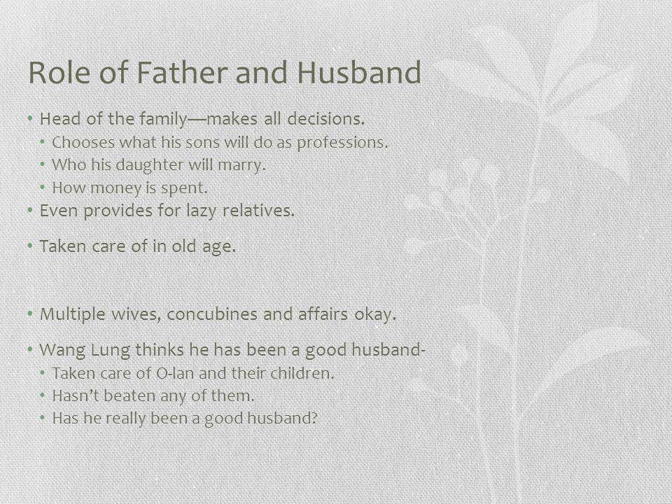 Role of Father and Husband Head of the family—makes all decisions.