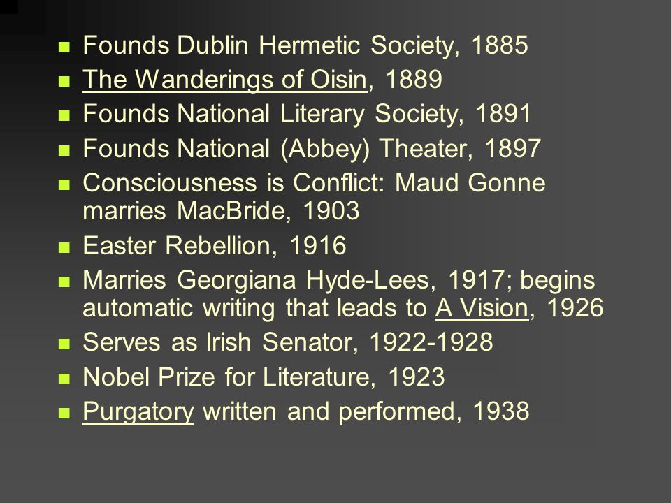 Founds Dublin Hermetic Society, 1885 The Wanderings of Oisin, 1889 Founds National Literary Society, 1891 Founds National (Abbey) Theater, 1897 Consciousness is Conflict: Maud Gonne marries MacBride, 1903 Easter Rebellion, 1916 Marries Georgiana Hyde-Lees, 1917; begins automatic writing that leads to A Vision, 1926 Serves as Irish Senator, 1922-1928 Nobel Prize for Literature, 1923 Purgatory written and performed, 1938