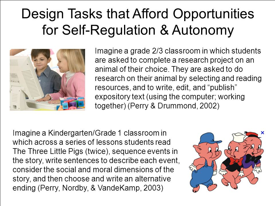 Design Tasks that Afford Opportunities for Self-Regulation & Autonomy Imagine a grade 2/3 classroom in which students are asked to complete a research