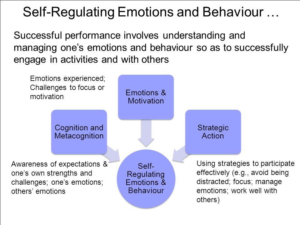 Self-Regulating Emotions and Behaviour … Self- Regulating Emotions & Behaviour Cognition and Metacognition Emotions & Motivation Strategic Action Succ