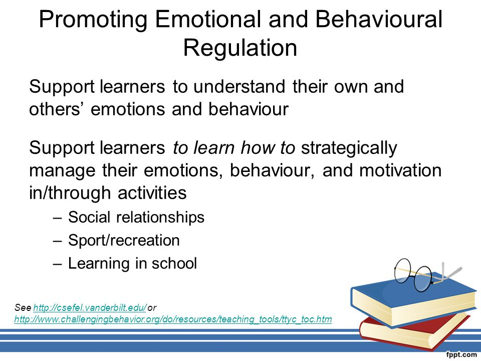 Promoting Emotional and Behavioural Regulation Support learners to understand their own and others' emotions and behaviour Support learners to learn h
