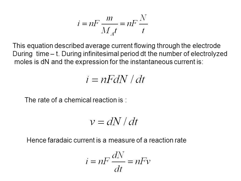This equation described average current flowing through the electrode During time – t.