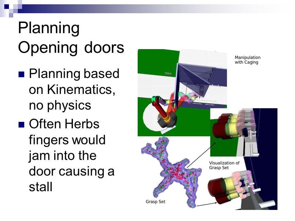 Planning Opening doors Planning based on Kinematics, no physics Often Herbs fingers would jam into the door causing a stall