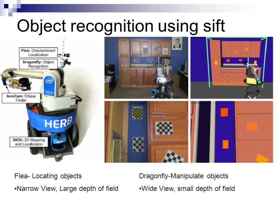 Object recognition using sift Flea- Locating objects Narrow View, Large depth of field Dragonfly-Manipulate objects Wide View, small depth of field